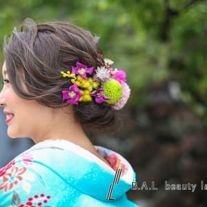 生花と造花で色打掛ヘア